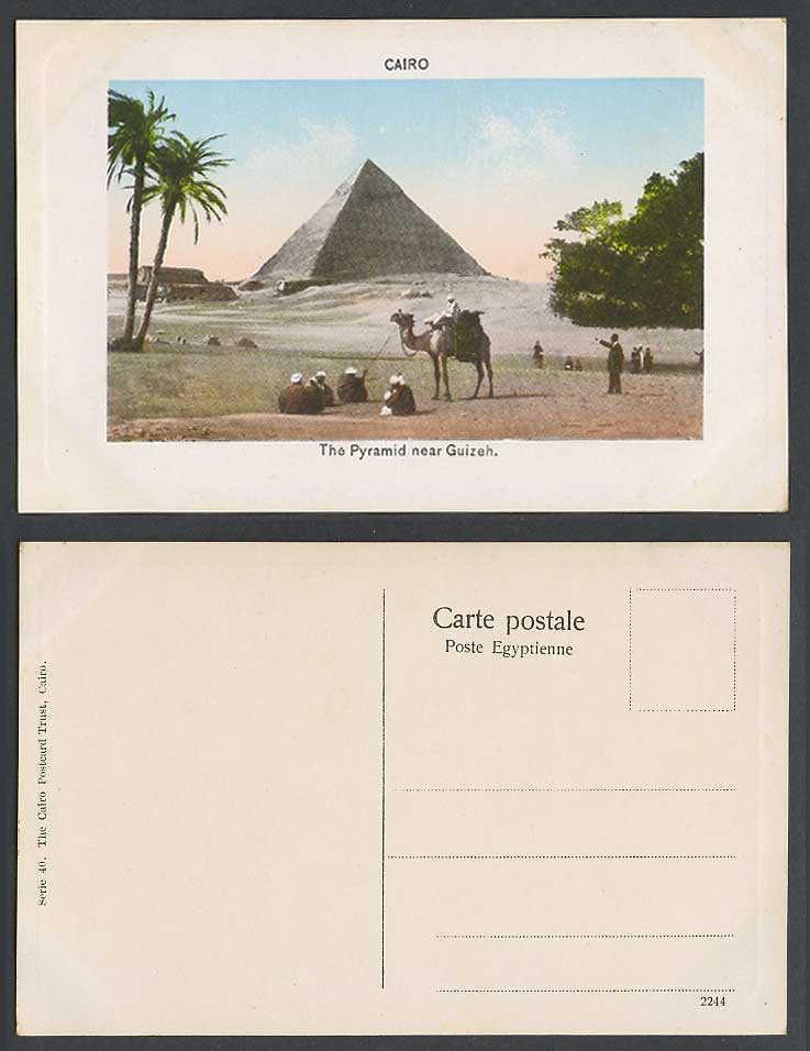 Egypt Old Postcard Cairo The Pyramids near Guizeh Giza, Camel Rider, Palm Trees
