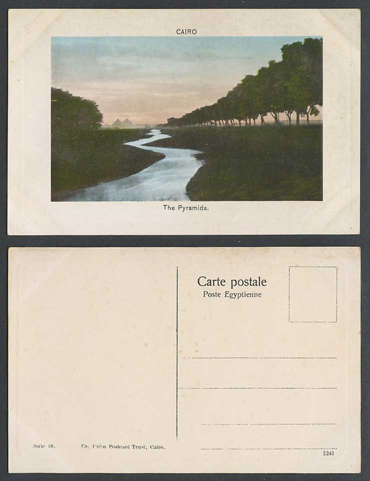 Egypt Old Embossed Postcard Cairo The Pyramids & River Scene, Le Caire Pyramides