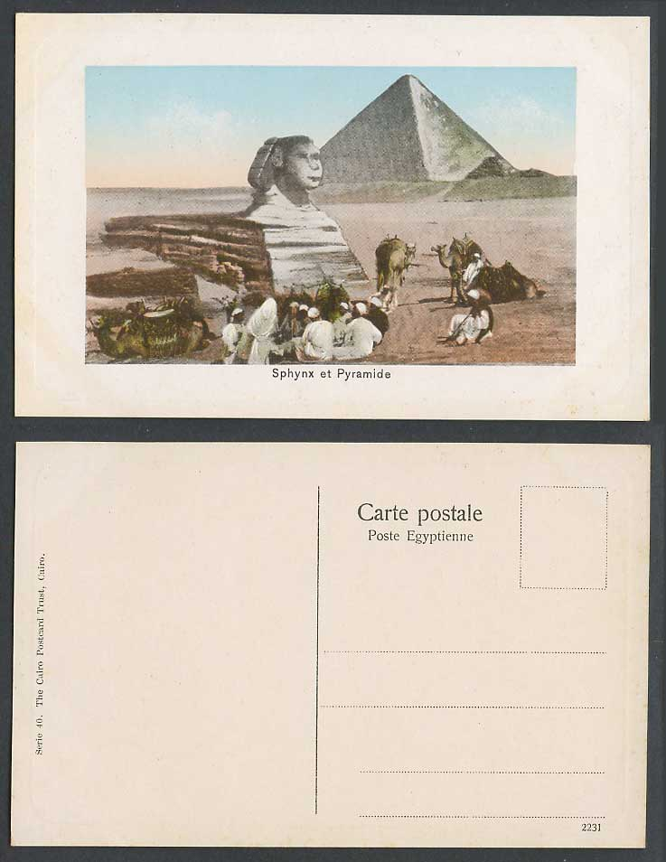 Egypt Old Embossed Postcard Cairo Sphinx Sphynx Pyramids, Camels Natives Resting