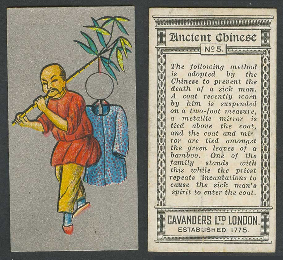 China 1926 Cavanders Old Cigarette Card Ancient Chinese Man Coat Mirror Bamboo 5