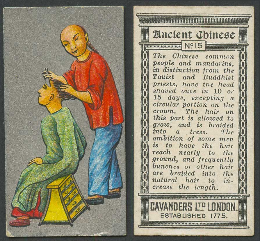 China 1926 Cavanders Old Cigarette Card Ancient Chinese Barber Shaving Chinaman