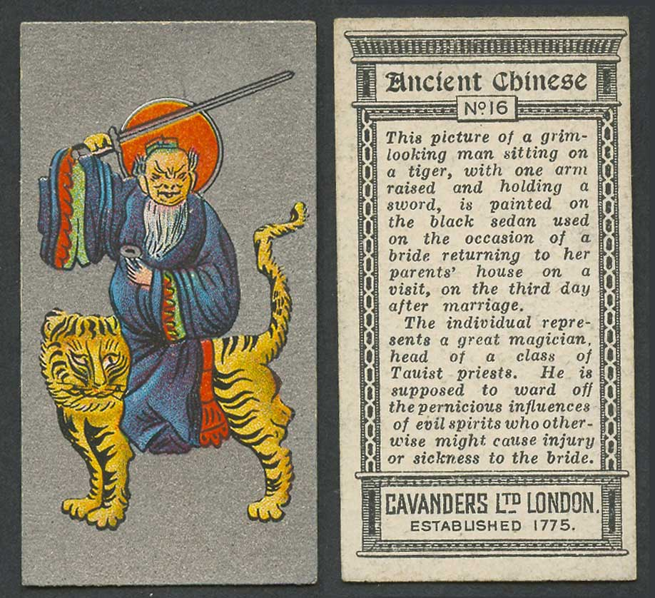 China 1926 Cavanders Old Cigarette Card Ancient Chinese A Taoist Priest on Tiger