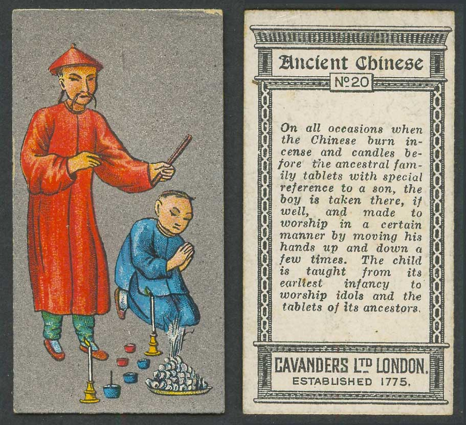 China 1926 Cavanders Old Cigarette Card Ancient Chinese Burning Incense Candles