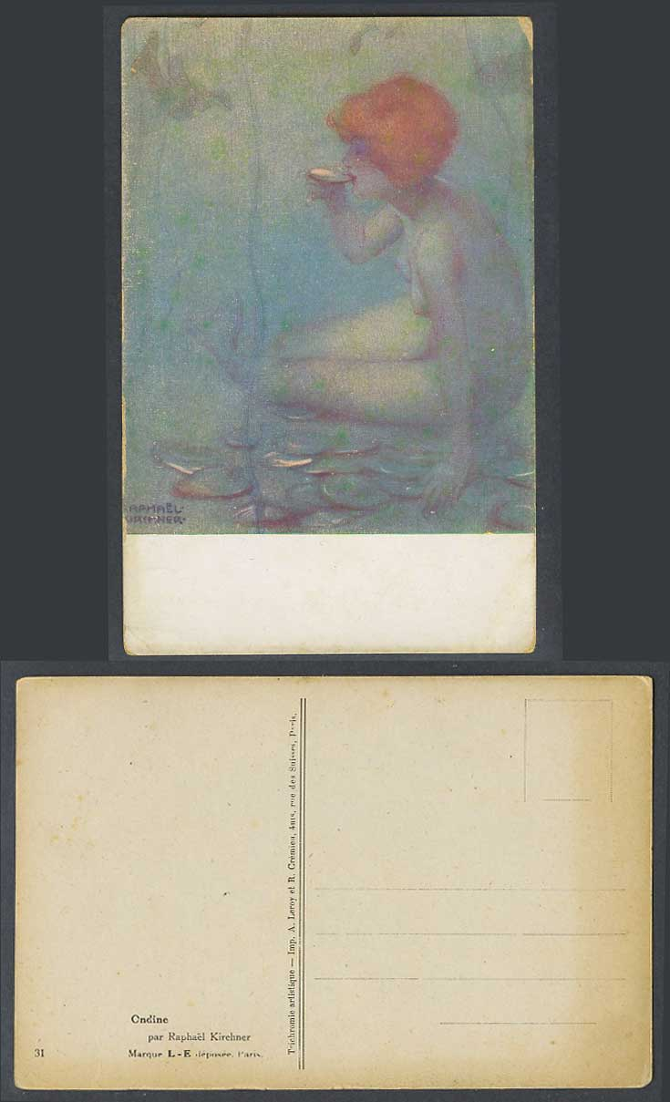 Raphael Kirchner Signed Old Postcard Ondine, Nude Naked Woman Girl Lady Drinking