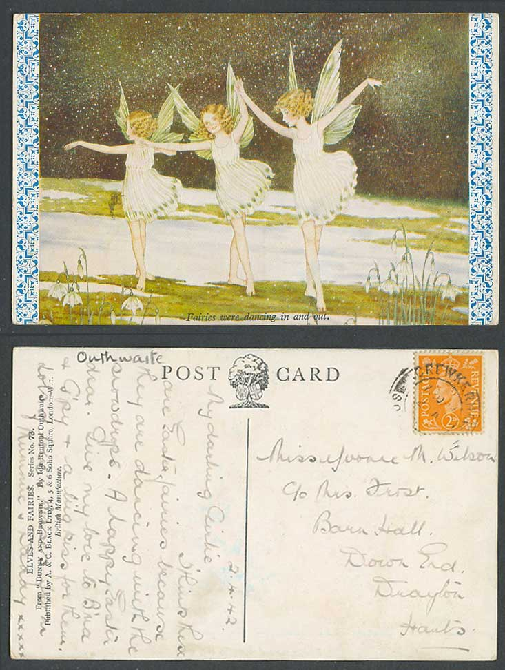 I R Outhwaite 1942 Old Postcard Fairies were Dancing In and Out Bunny Brownie 73