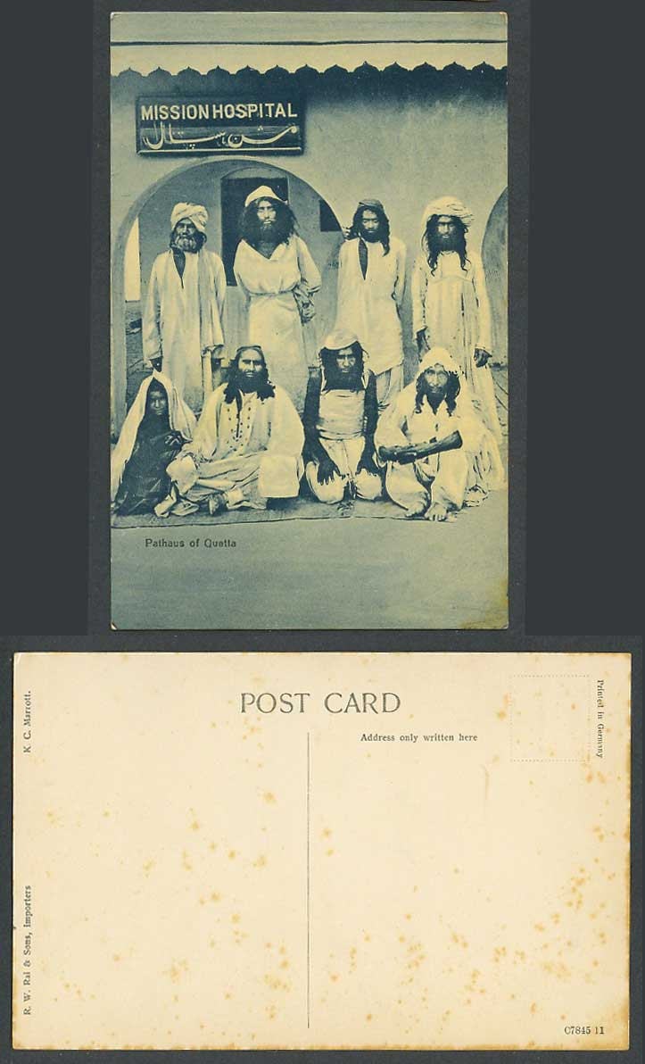 Pakistan Old Postcard Pathaus of Quetta, Mission Hospital, Pathan Patients India