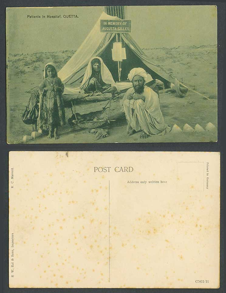 Pakistan Old Postcard Quetta Patients in Hospital Memory of Augusta Gilles India