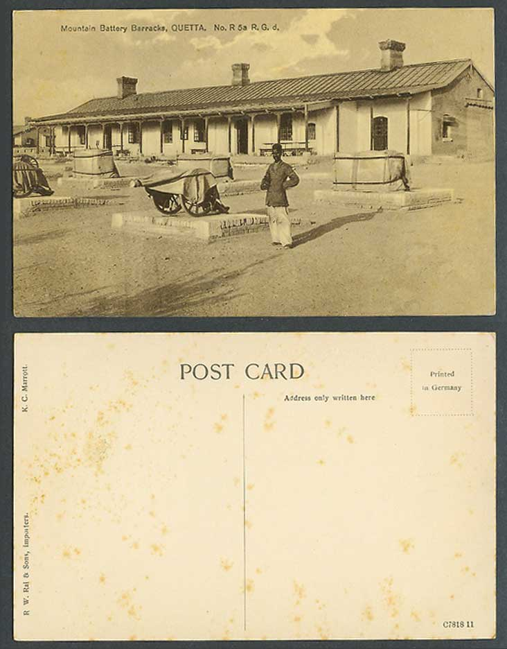 India Old Postcard Mountain Battery Barracks Quetta No. R5aR.G.d. Cannon Soldier
