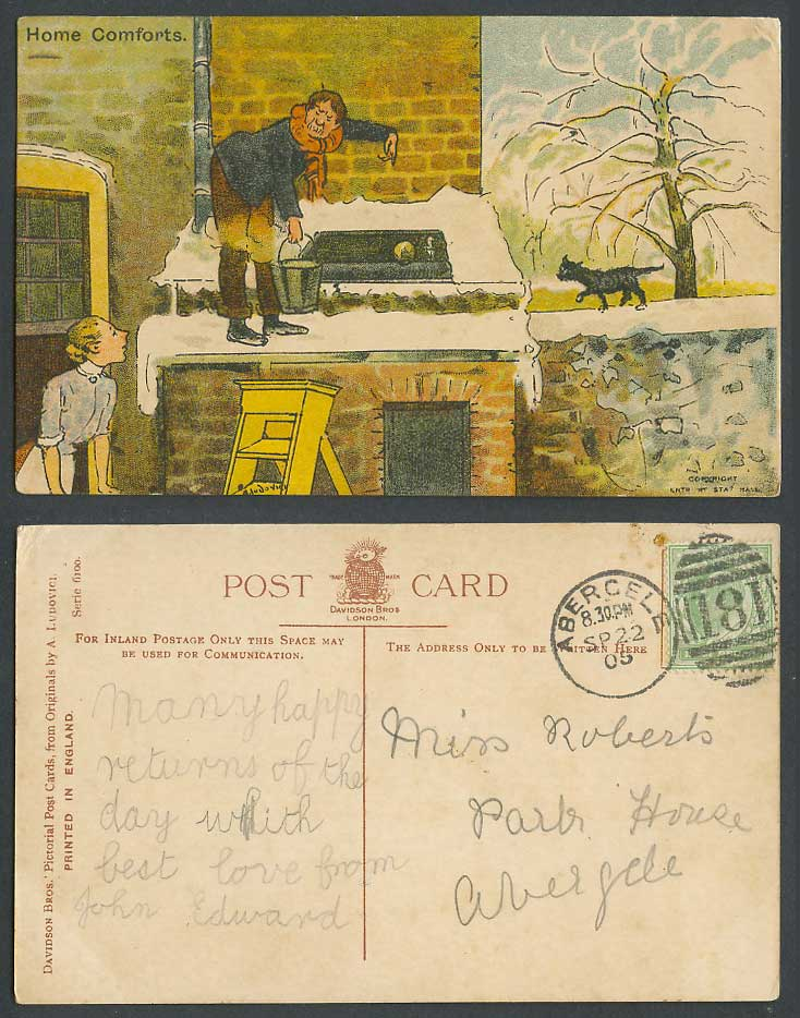 A. Ludovici, Home Comforts 1905 Old Postcard Black Cat Kitten Snow Bucket Ladder