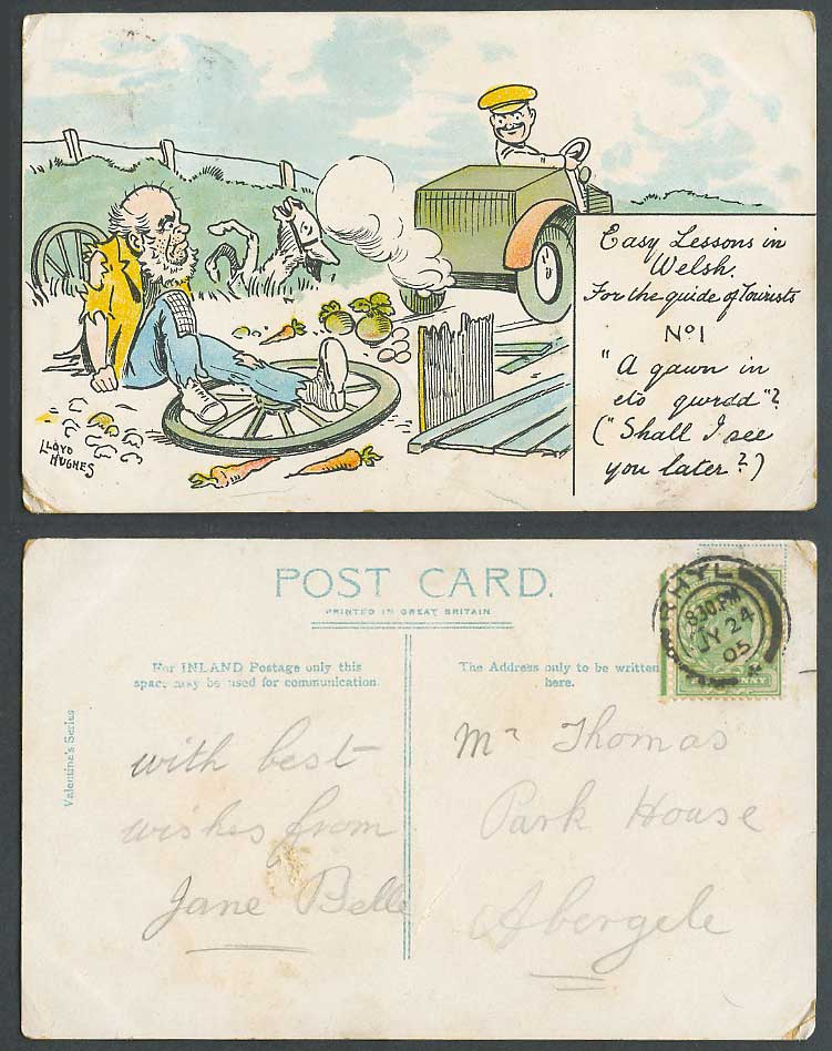 Lloyd Hughes 1905 Old Postcard Easy Lesson in Welsh For Tourists Guide Motor Car