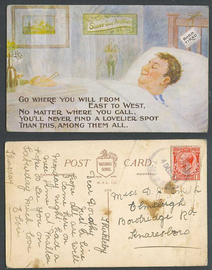 Born Tired Shove One Another, Never Find a Lovelier Spot than this 1919 Postcard
