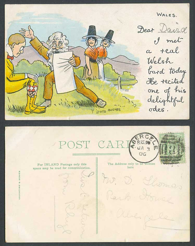 Lloyd Hughes Comic 1906 Old Postcard Wales Welsh Ladies Women, National Costumes