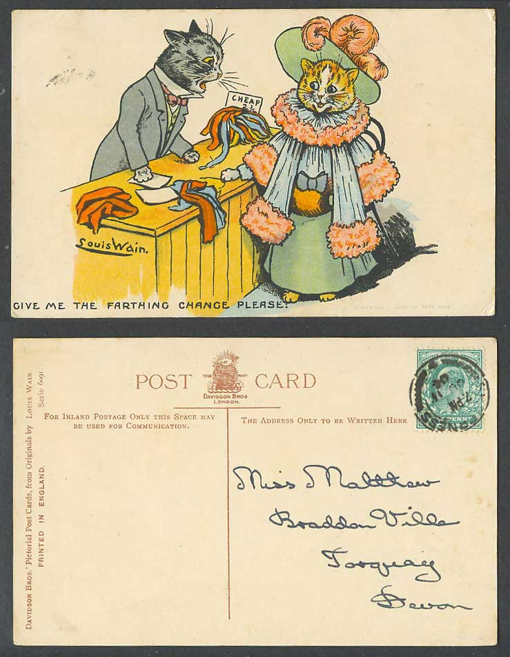 Louis Wain Artist Signed Cats, Give Me Farthing Change Please! 1904 Old Postcard