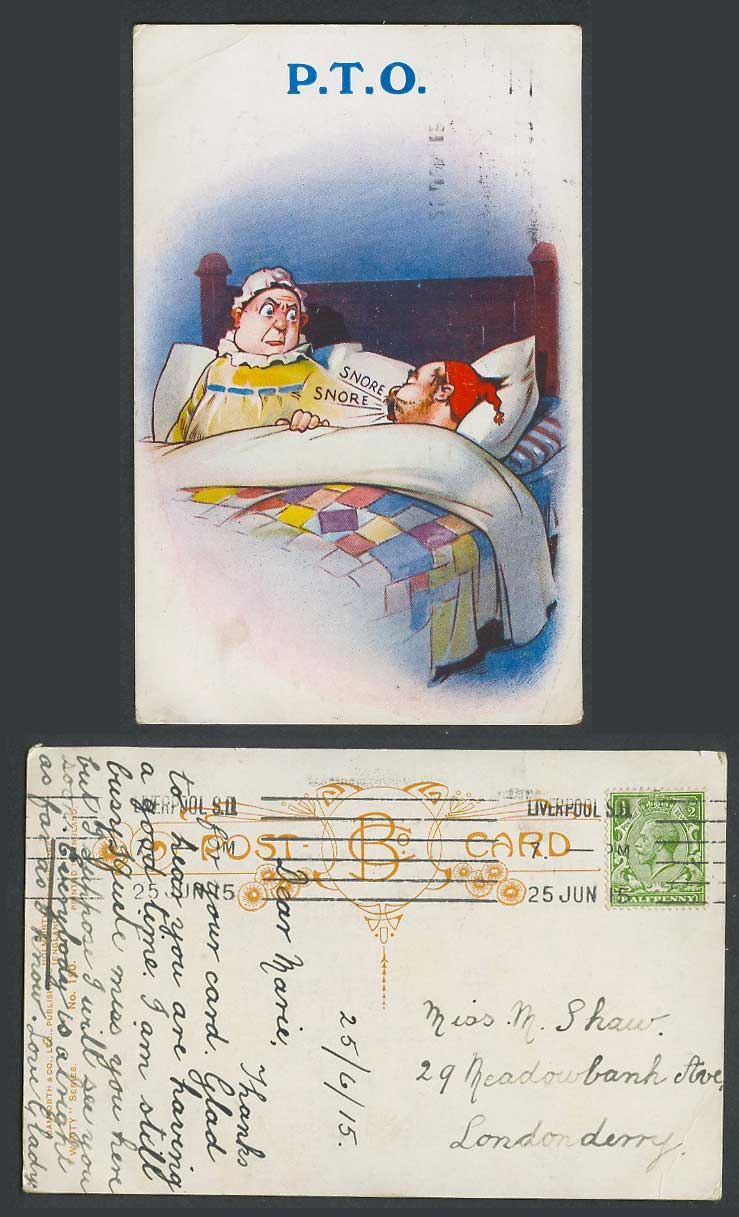 P.T.O. Snore Snore Man Snoring on Bed 1915 Old Postcard Bamforth Witty Series150