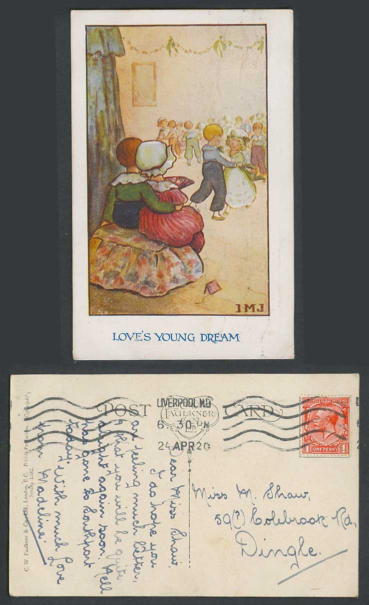 I.M.J. Artist Signed 1920 Old Postcard Love's Young Dreams. Boys & Girls Dancing