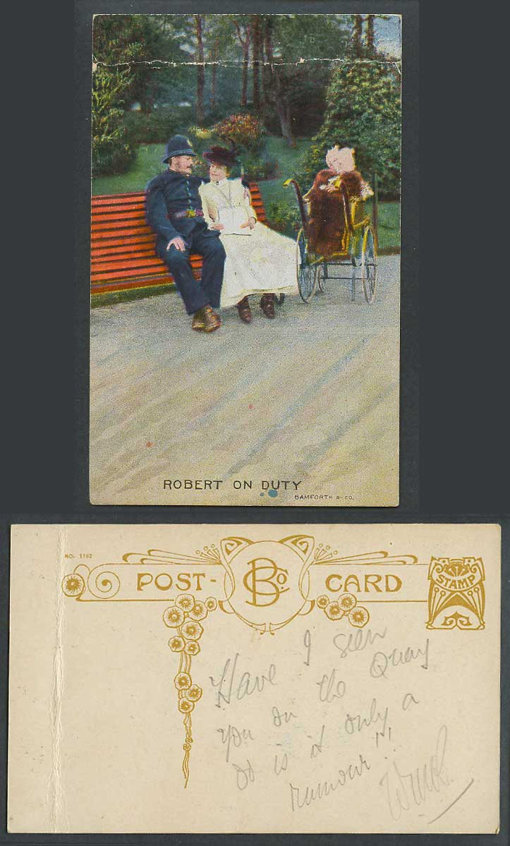 Robert on Duty, Police & Woman Lady Sit on Bench Baby Pram Bamforth Old Postcard