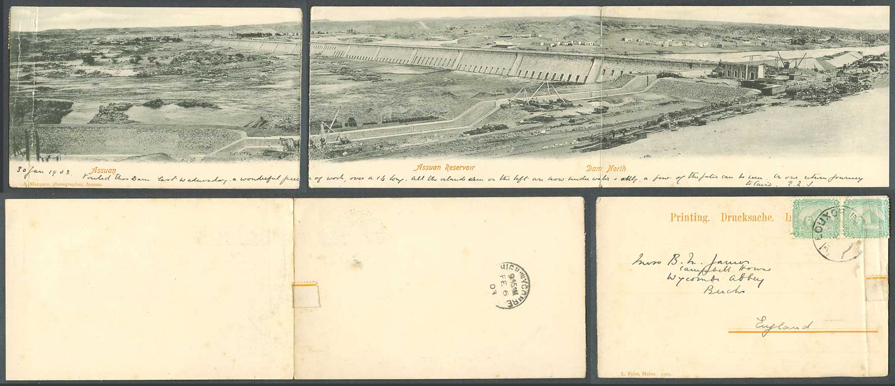 Egypt 2m 1903, 3 Old Postcards 2 Attached 1 Panorama, Assuan Reservoir Dam North