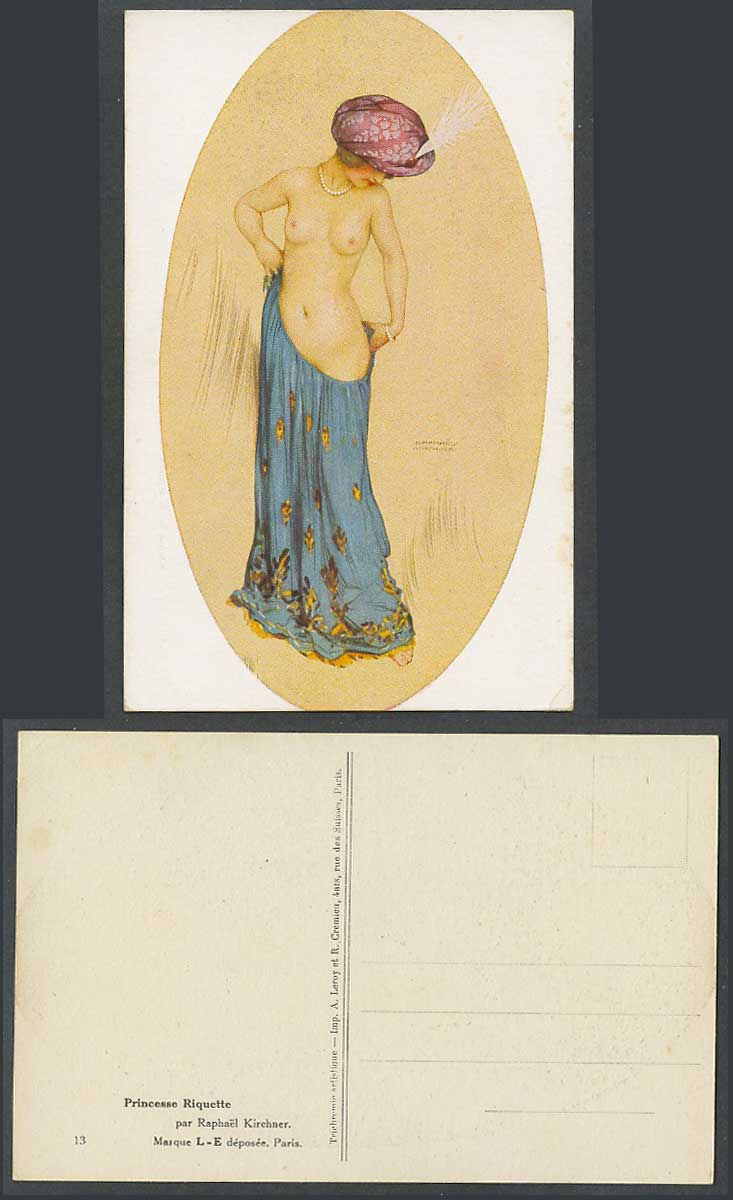 Raphael Kirchner Old Postcard Princesse Riquette Princess Lady Girl Bare Breasts