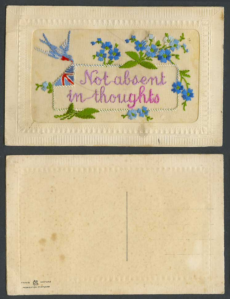 WW1 SILK Embroidered Old Postcard Bird, Not Absent in Thoughts Flag Blue Flowers