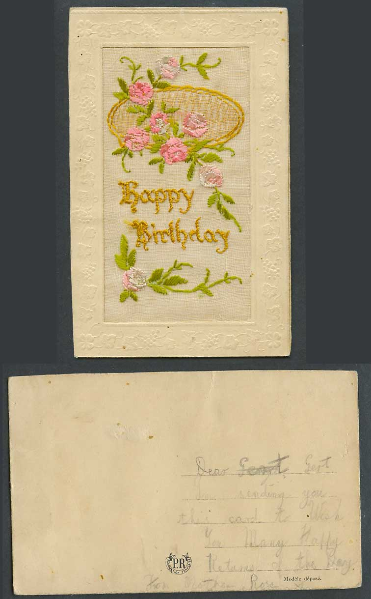 WW1 SILK Embroidered Old Postcard Happy Birthday, Pink Flowers Novelty Greetings