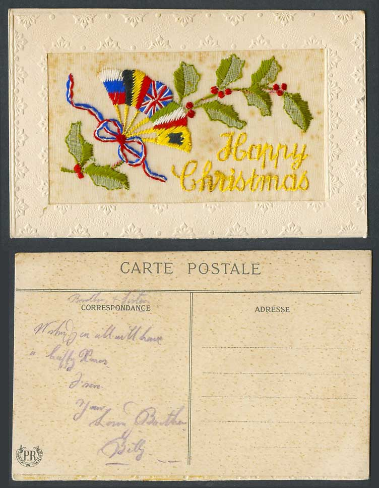 WW1 SILK Embroidered Old Postcard Happy Christmas, Flags Flag Fan Holly, Novelty