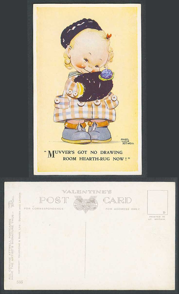 MABEL LUCIE ATTWELL Old Postcard No Drawing Room Hearth-Rug Muff Hand Warmer 535