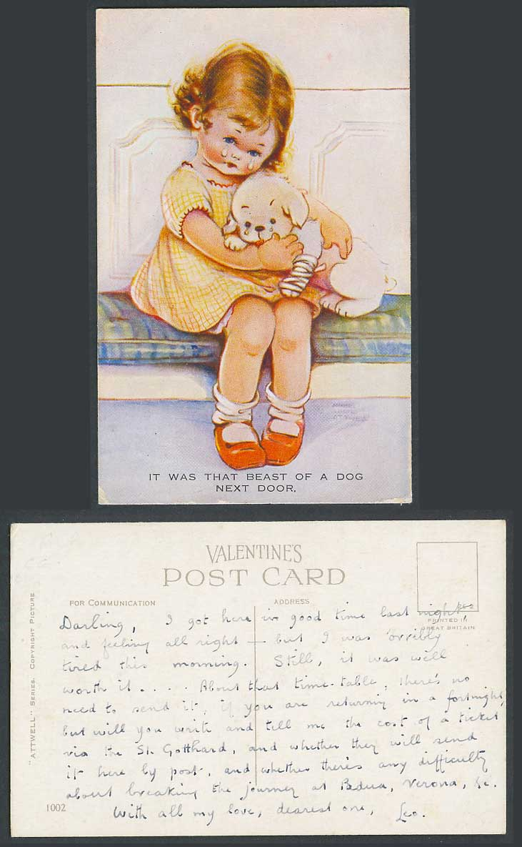 MABEL LUCIE ATTWELL Old Postcard It Was That Beast of a Dog Next Door Puppy 1002