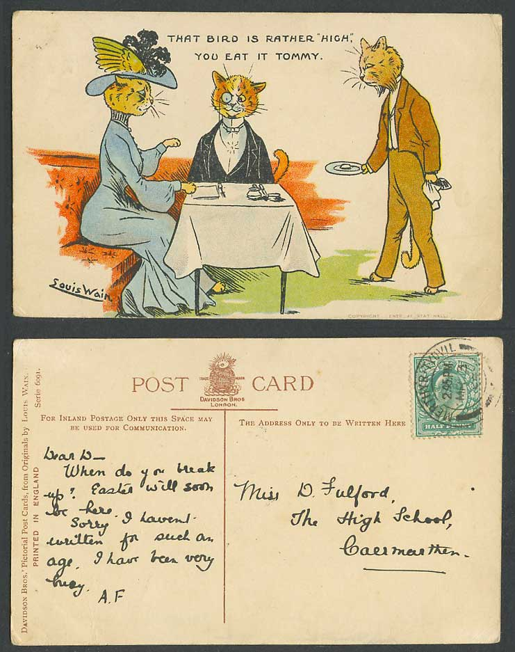 LOUIS WAIN Artist Signed Cats, Bird is High, You Eat it Tommy 1904 Old Postcard