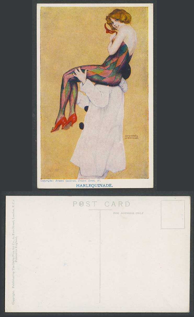 Raphael Kirchner Old Postcard Harlequinade a Clown Carry Glamour Woman Lady Girl