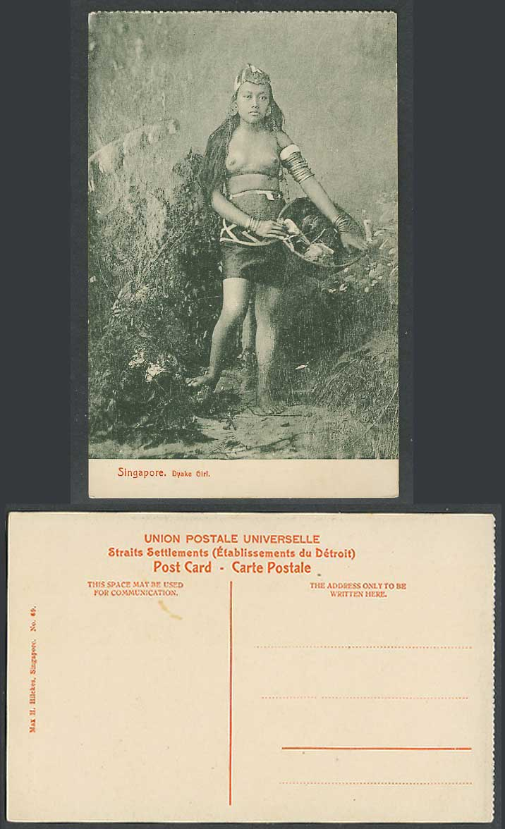 Singapore Old Postcard Dyake Girl Native Dyak Lady Woman, Bare Breasts, Costumes