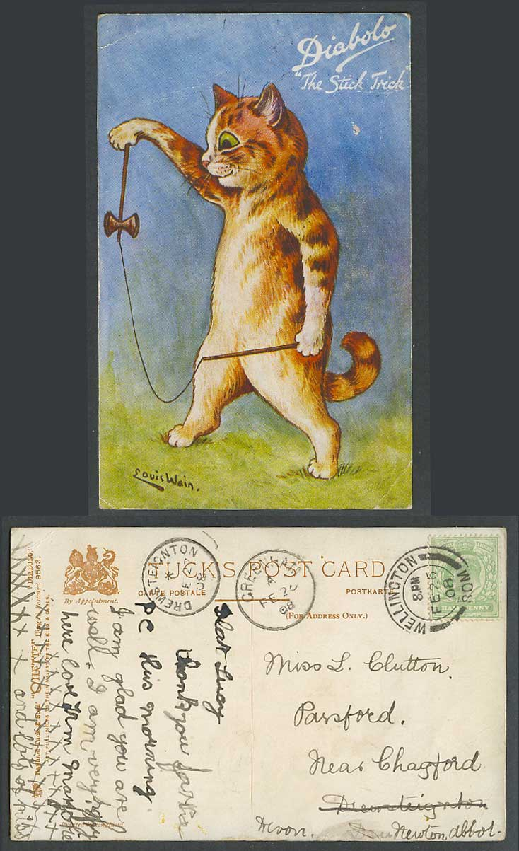Louis Wain Artist Signed Cat Kitten Diabolo Stick Trick 1908 Old Tuck's Postcard