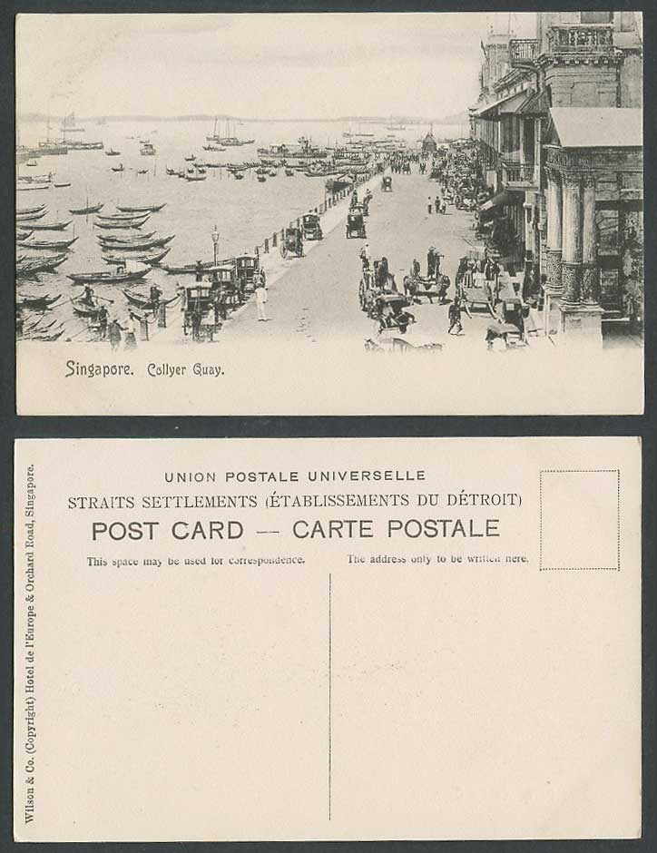 Singapore Old Postcard Collyer Quay Harbour Native Boats, Street Scene, Rickshaw