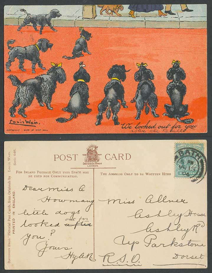 Louis Wain Artist Signed Black Poodle Dogs We Look Out For You 1904 Old Postcard