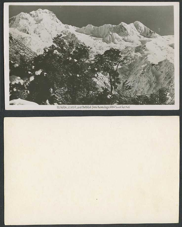 New Zealand Old RP Postcard Mt. Sefton & Footstool from Hermitage Snowy Mountain