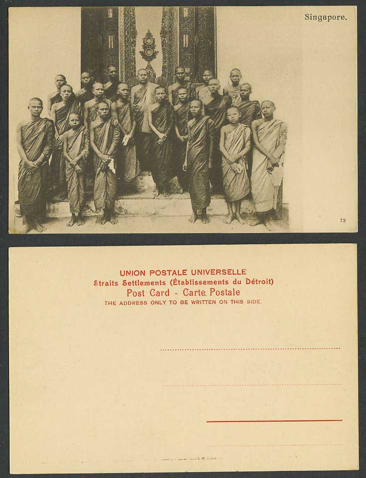 Singapore Old Postcard Group of Monks Buddhist Priests Temple Religious Costumes