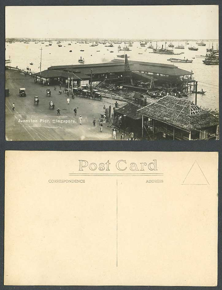 Singapore Old Real Photo Postcard Johnston Pier Harbour Ships Boats Street Scene