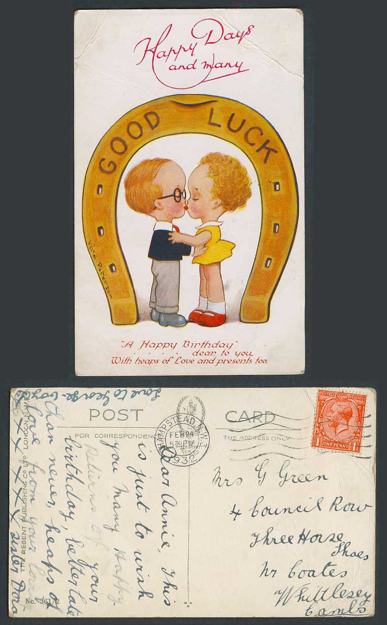 Boy Girl Kiss Good Luck Horseshoe Many Happy Birthday Greeting 1932 Old Postcard