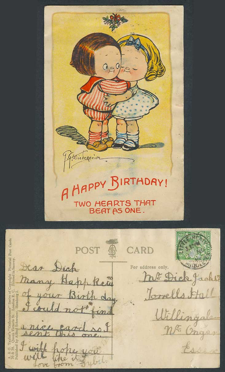 G.G. Wiederseim 1914 Old Postcard A Happy Birthday - Two Hearts That Beat as One