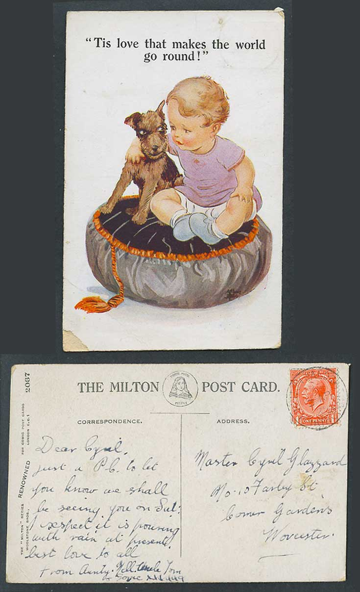 Artist Signed Boy & Dog Tis Love that makes the world go round 1928 Old Postcard