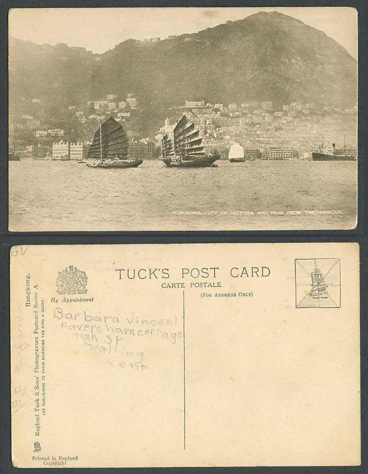 Hong Kong China Old Tuck's Postcard Victoria City Peak from Harbour Chinese Junk