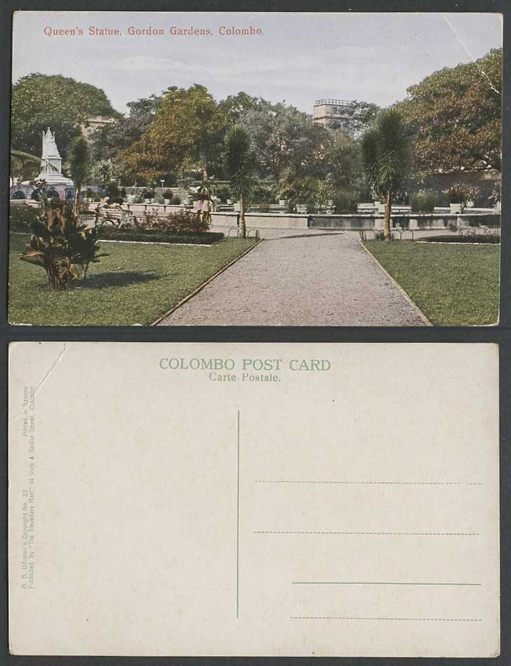 Ceylon Old Colour Postcard Victoria Queen's Statue Gordon Gardens Colombo MBD 33