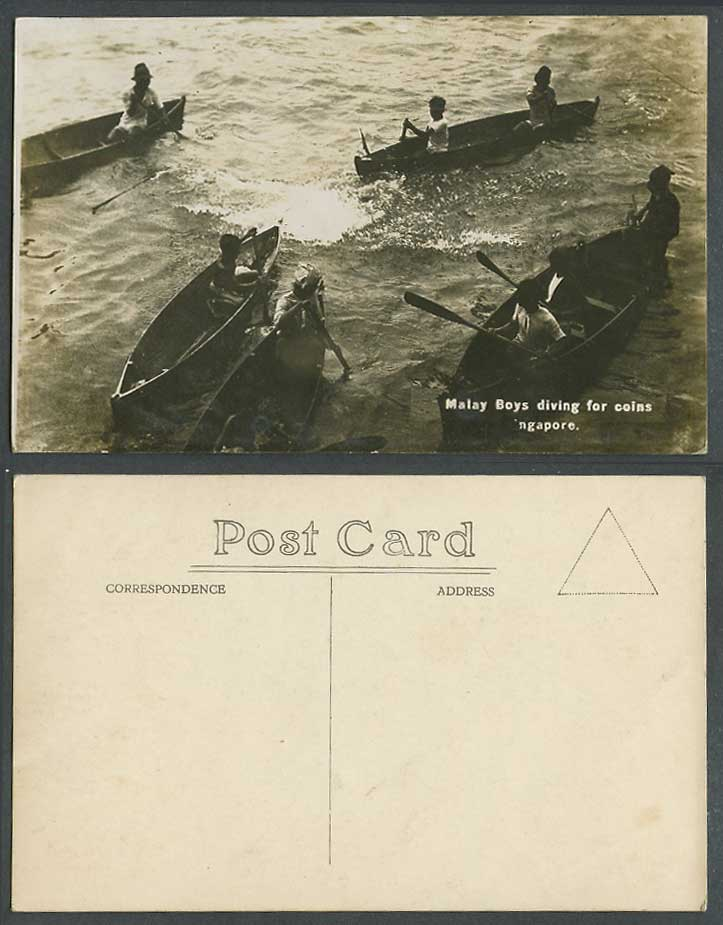 Singapore Old Real Photo Postcard Malay Boys Diving For Coins Native Boats Canoe