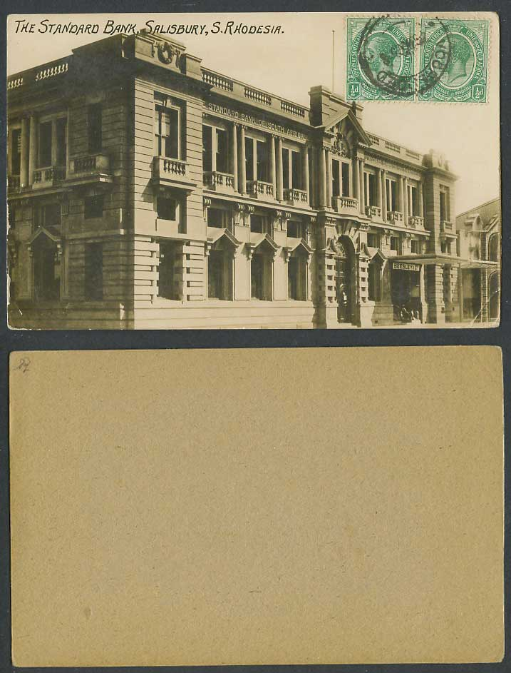 S Rhodesia KG5 1/2d 1905 Old Photo Card The Standard Bank Salisbury Beesley & Co