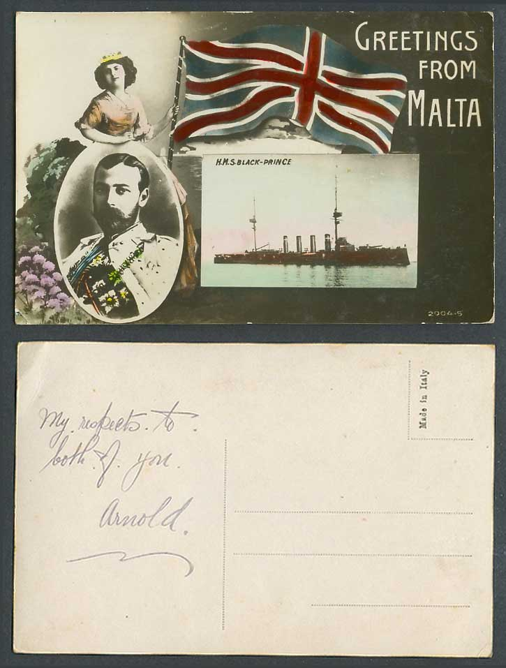 Malta Greetings from Old Postcard H.M.S. Black Prince Warship Ship KG5 King Flag