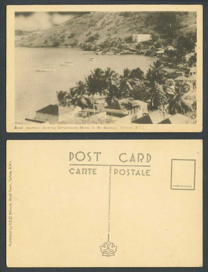 British Virgin Islands Old Postcard Tortola Road Harbour Government House Yachts