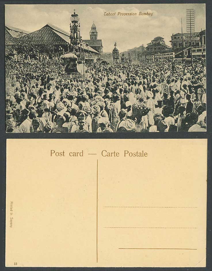 India Old Postcard Taboot Procession Bombay Native Festival Crowd Street View 15