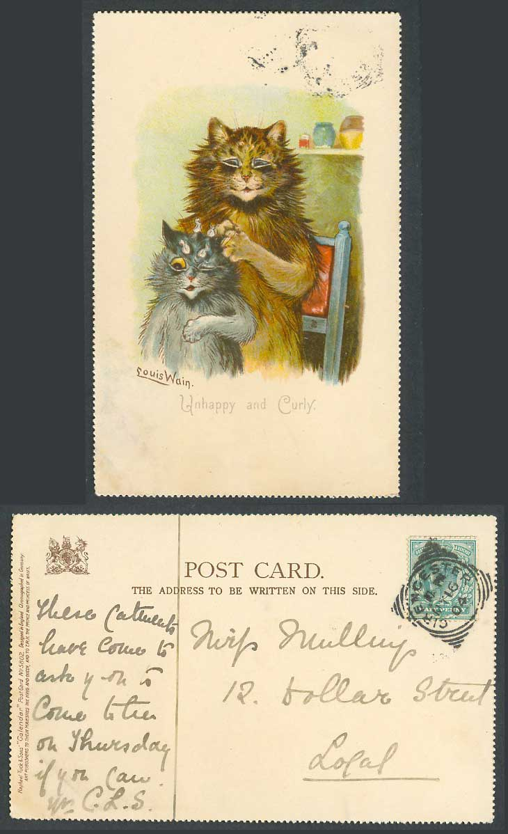 Louis Wain Artist Signed Cats Kittens Unhappy and Curly 1904 Old Tuck's Postcard