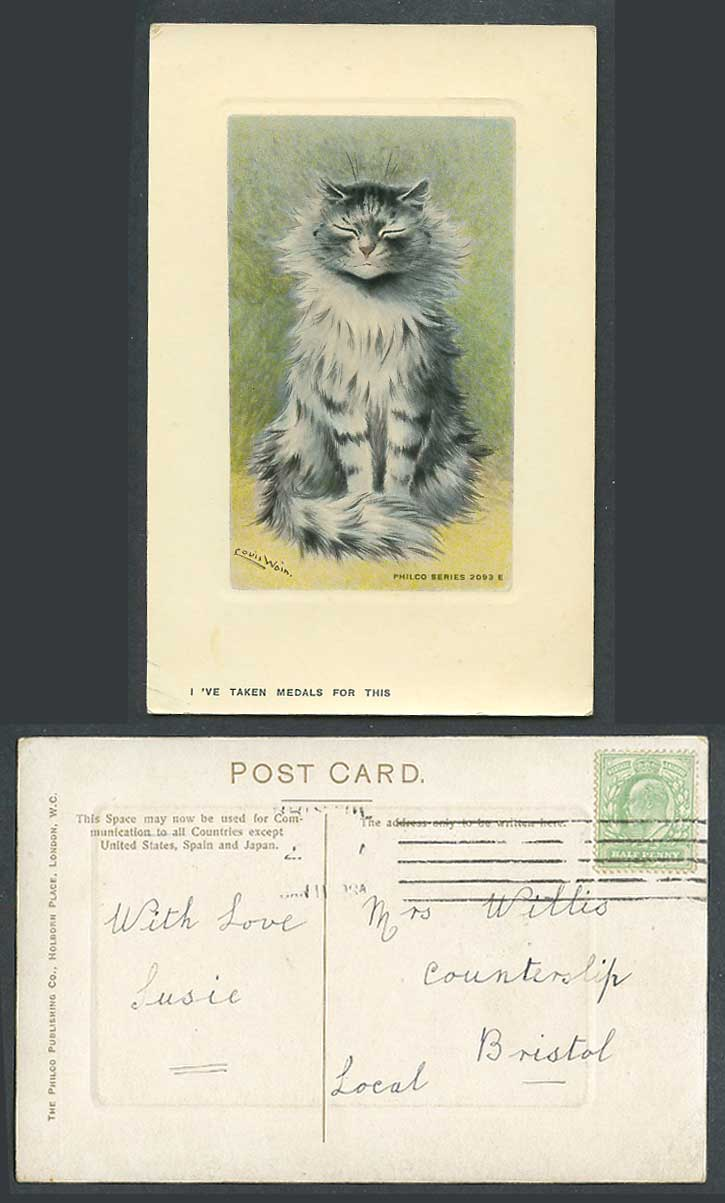 Louis Wain Artist Signed Cat Kitten I've Taken Medals For This 1908 Old Postcard