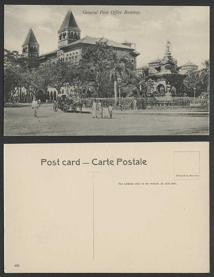 India Old Postcard General Post Office, Bombay, Street Scene Horse Cart Monument