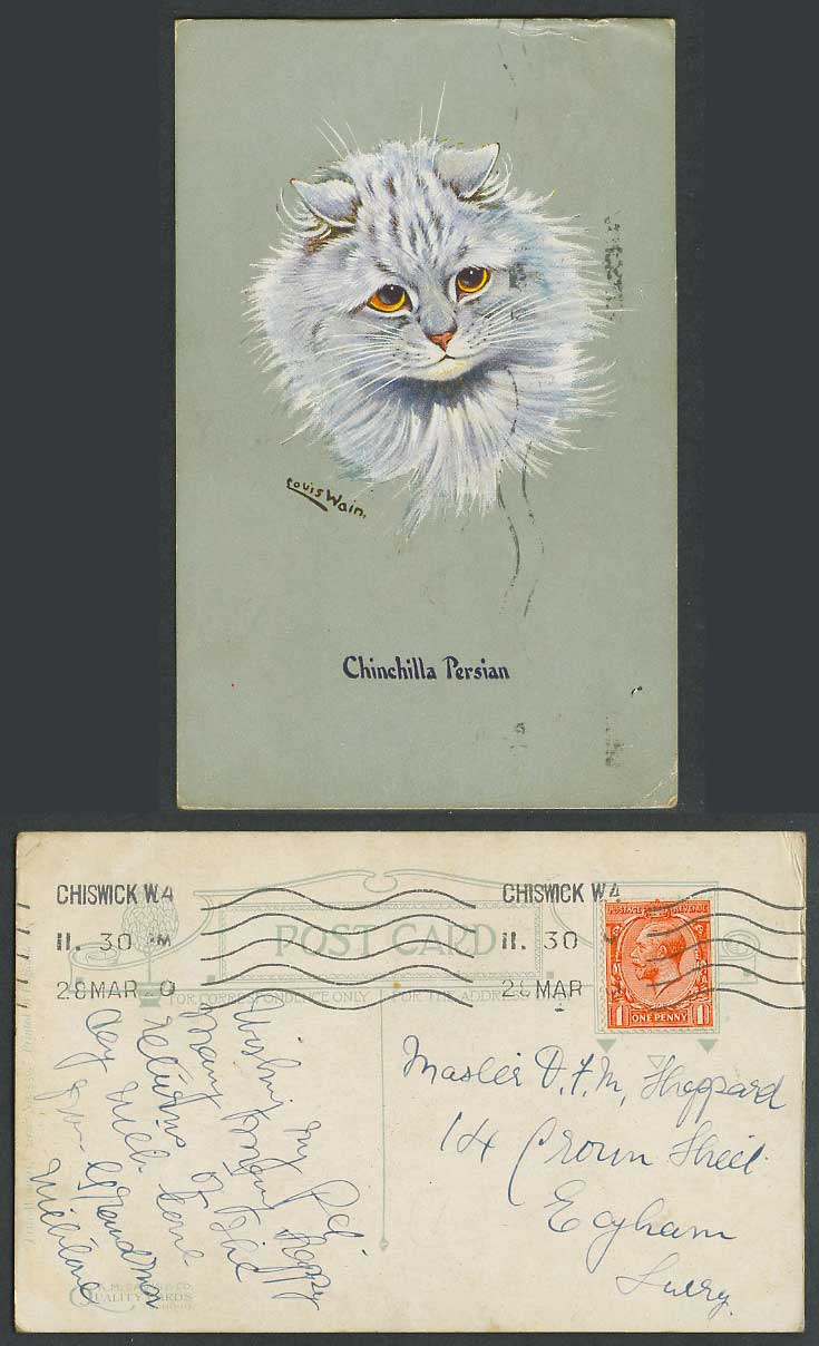 Louis Wain Artist Signed Cat Chinchilla Persian 1920 Old Postcard Prize Winner's